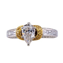 GIA 0.74 Carat Pear Shaped Diamond Two-Tone Gold Engagement Ring