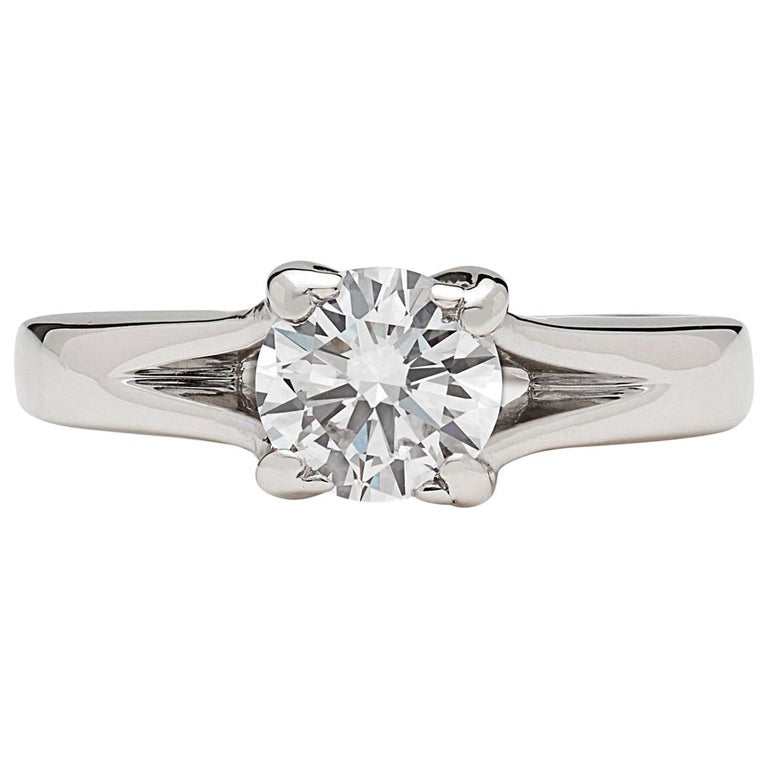 GIA 0.76 Carat D/VS2 Diamond Engagement Ring For Sale