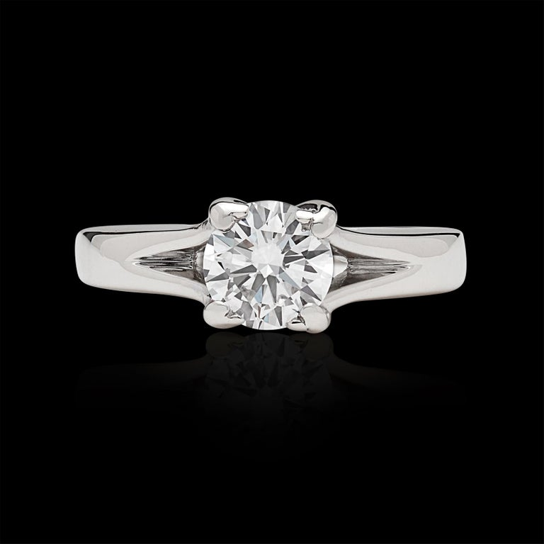 Round Cut GIA 0.76 Carat D/VS2 Diamond Engagement Ring For Sale