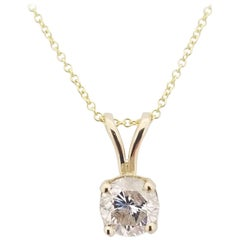 GIA 0.80 Carat Round Diamond Pendant 14 Karat Gold