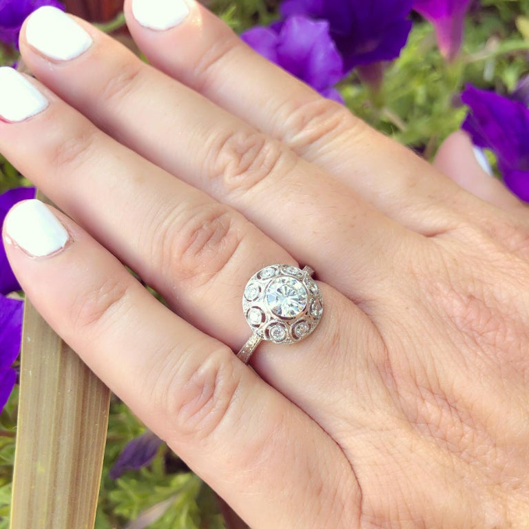 Round Cut GIA 0.82 Carat F/VS2 Diamond Platinum Engagement Ring For Sale