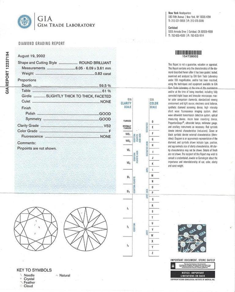 GIA 0.82 Carat F/VS2 Diamond Platinum Engagement Ring For Sale 1