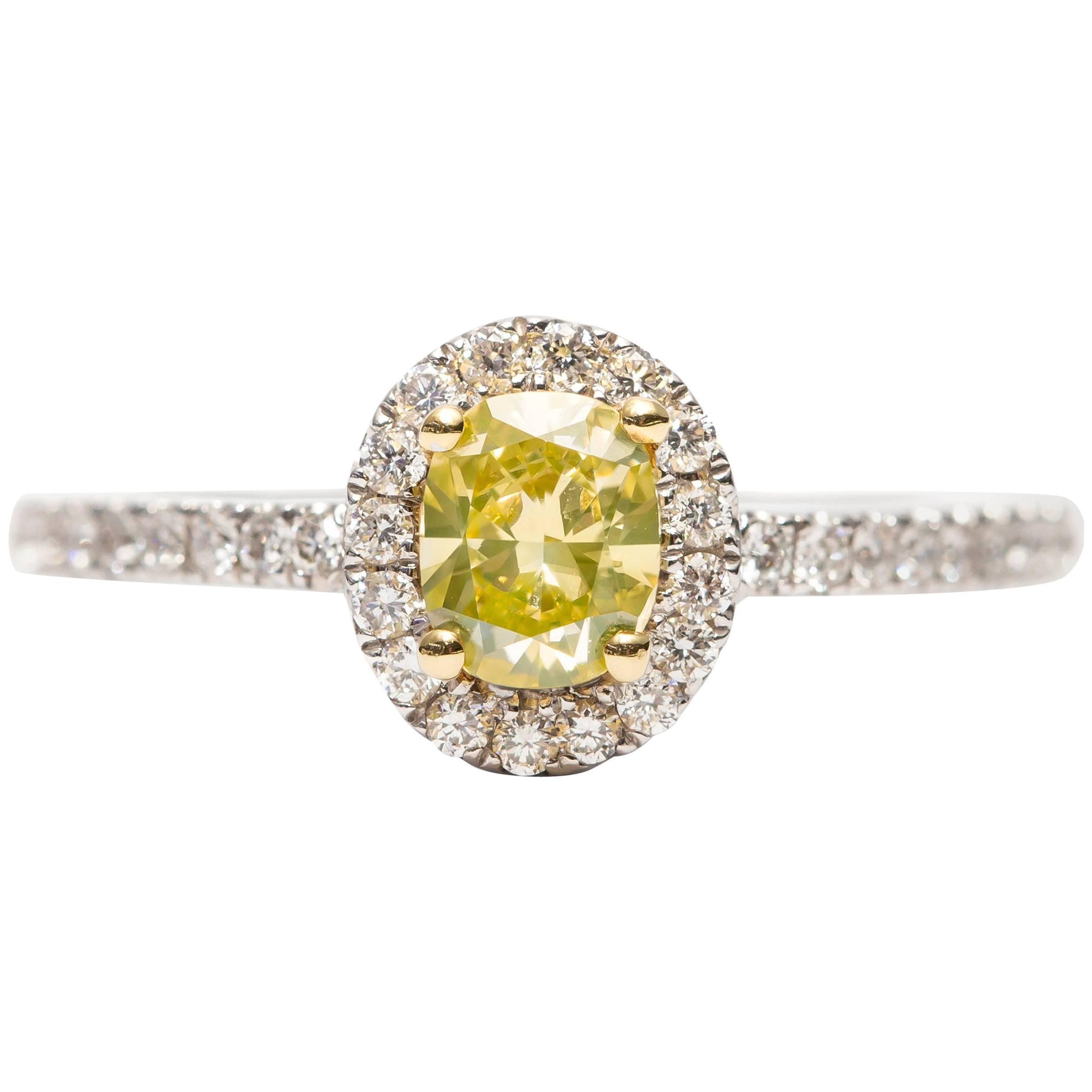 GIA 0.87 Carat Yellow Cushion Diamond 18 Karat White Gold Halo Engagement Ring