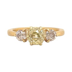 GIA 0.90 Carat Fancy Color Diamond 3-Stone Engagement Ring