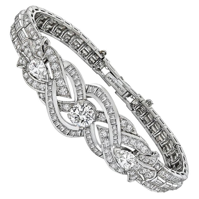 GIA 0.97 Carat Center Diamond Platinum Bracelet For Sale