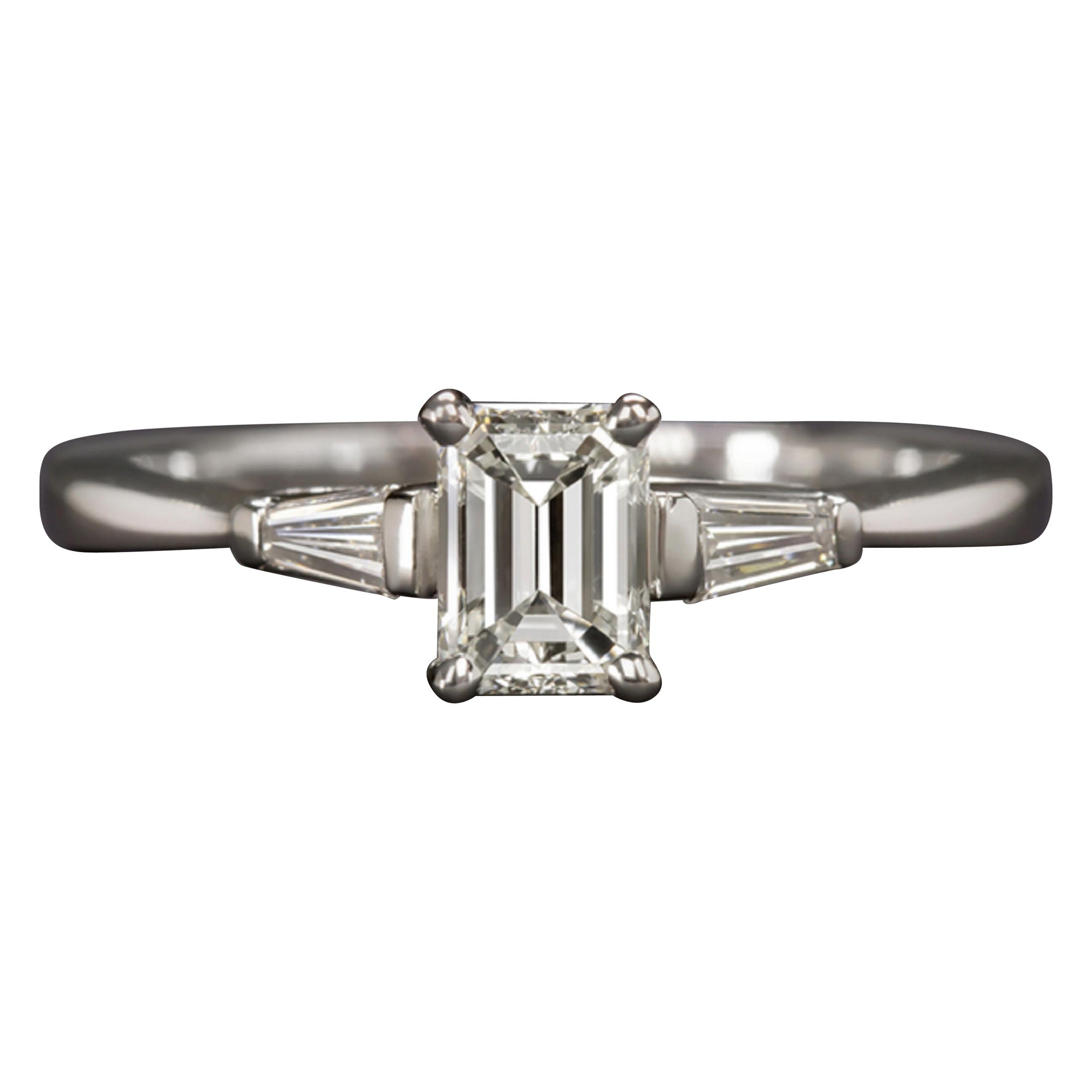 GIA 1 Carat Certified Three Stone Emerald Cut Diamond Solitaire Gold Ring