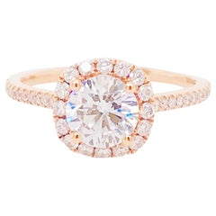 GIA 1 Carat Diamond Halo Rose Gold Ring Round Diamond Cushion Halo Ring