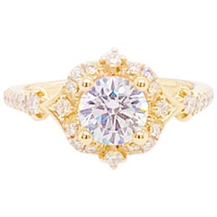 GIA 1 Carat Round Diamond Antique Style Diamond Engagement Ring, Yellow Gold