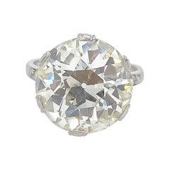 GIA 10.07 Carat Old European Cut Diamond Engagement Ring