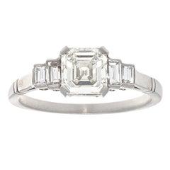 GIA 1.01 Carat Asscher Cut Diamond Platinum Engagement Ring