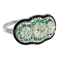 GIA 1.01 Carat Diamond Emerald Onyx Cocktail Ring