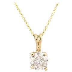 GIA 1.01 Carat Round Diamond Pendant 14 Karat Gold