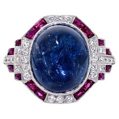 GIA 10.37 Carat NO HEAT Blue Sapphire with 1.11 Cts Ruby and Diamond Ring 18K WG