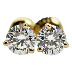 GIA 1.04 Carat Diamond Stud Round Earrings in 14 Karat Yellow Gold