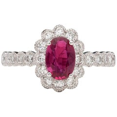 GIA 1.04 Carat Unheated Ruby Diamond Ring