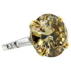 GIA 10.46 Carat Fancy Brown Yellow Round Diamond 3-Stone Platinum Ring