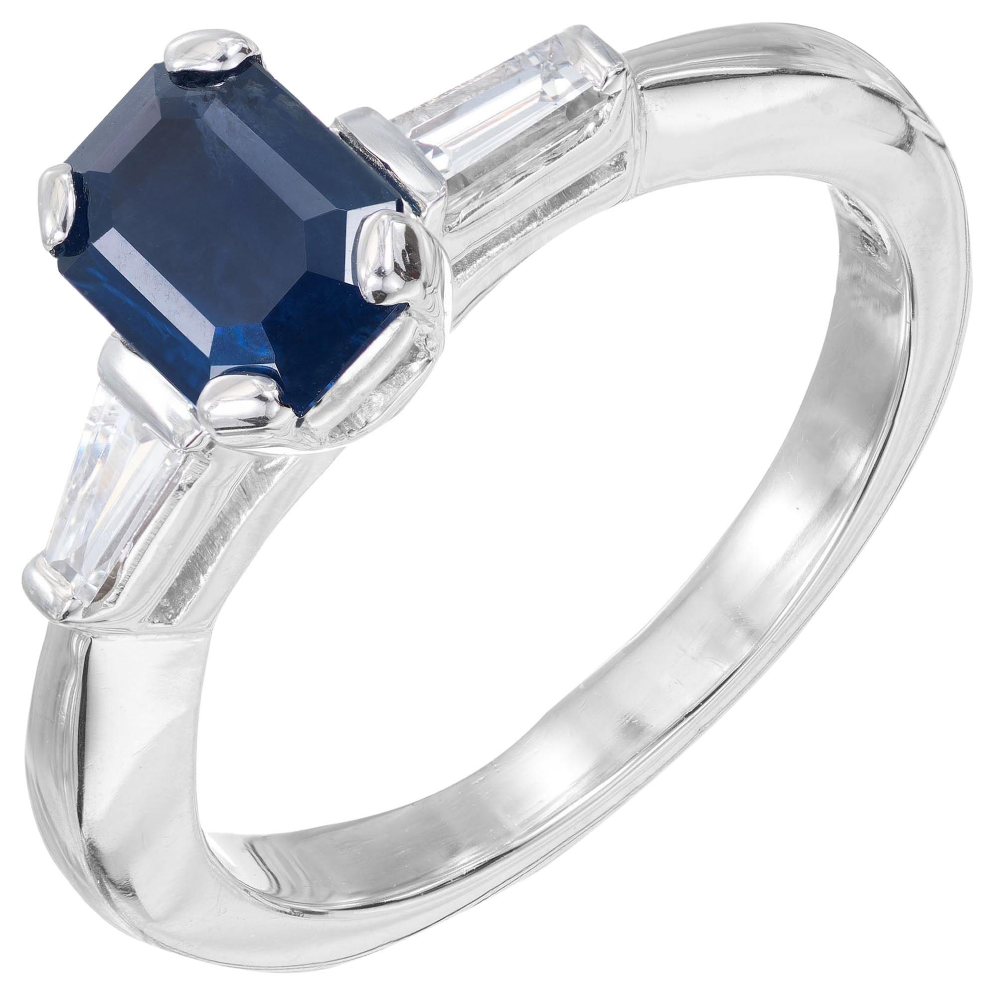 GIA 1.05 Carat Dark Blue Sapphire Diamond Platinum Three-Stone Engagement Ring