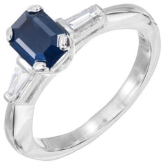 GIA 1.05 Carat Dark Blue Sapphire Diamond Platinum Three-Stone Engagement Ring
