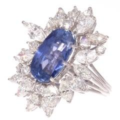 GIA 10.59 Carat Sapphire Diamond Platinum Ring