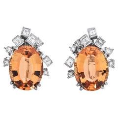GIA 10.60cts Imperial Topaz Diamond 18K Gold Earrings