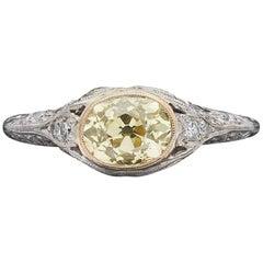 GIA 1.07 Carat Natural Fancy Yellow Diamond Ring