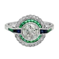 GIA 1.09 Carat Diamond Blue Sapphire Emerald Engagement Ring