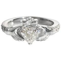 GIA 1.10 Carat Heart Diamond Irish Claddagh Platinum Estate Vintage Ring