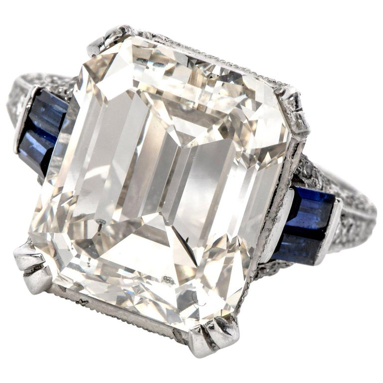 GIA 11.06 Carat Emerald Cut Diamond Sapphire Platinum Engagement Ring For Sale