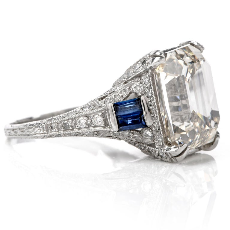Modern GIA 11.06 Carat Emerald Cut Diamond Sapphire Platinum Engagement Ring For Sale