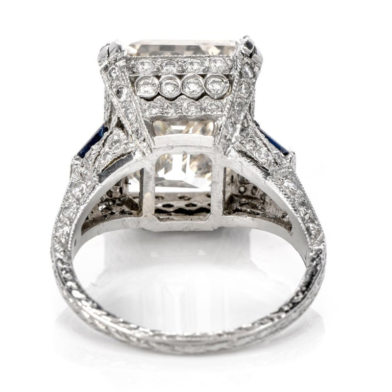 GIA 11.06 Carat Emerald Cut Diamond Sapphire Platinum Engagement Ring In Excellent Condition For Sale In Miami, FL