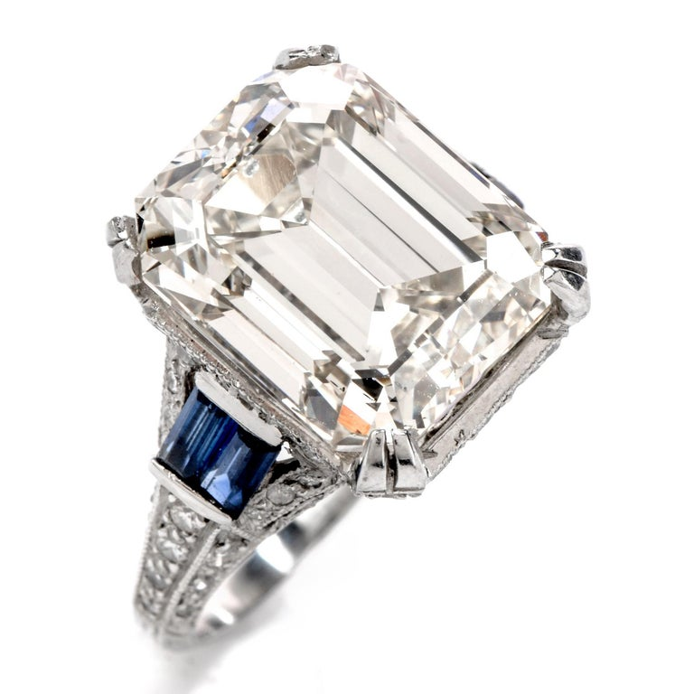 Women's or Men's GIA 11.06 Carat Emerald Cut Diamond Sapphire Platinum Engagement Ring For Sale