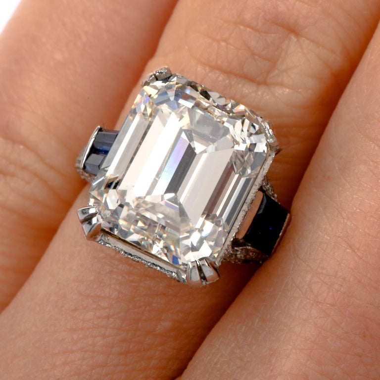 GIA 11.06 Carat Emerald Cut Diamond Sapphire Platinum Engagement Ring For Sale 1