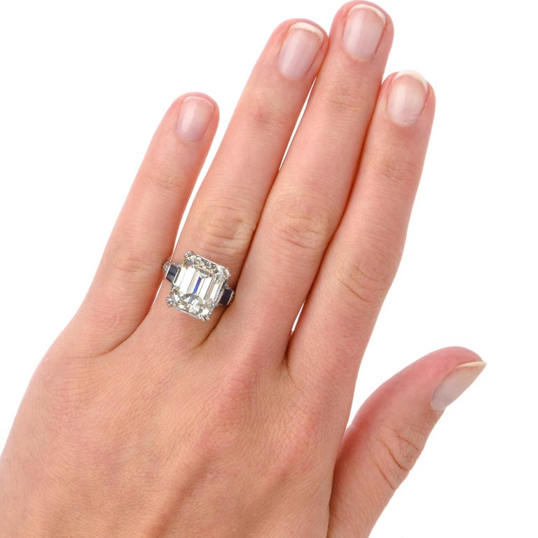 GIA 11.06 Carat Emerald Cut Diamond Sapphire Platinum Engagement Ring For Sale 2