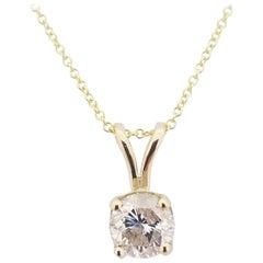 GIA 1.12 Carat Round Diamond Pendant 14 Karat Gold