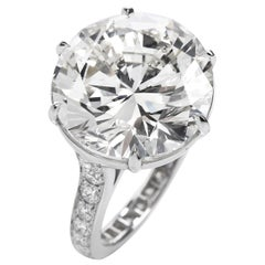 GIA 11.22 Carat Round Diamond Platinum Engagement Ring