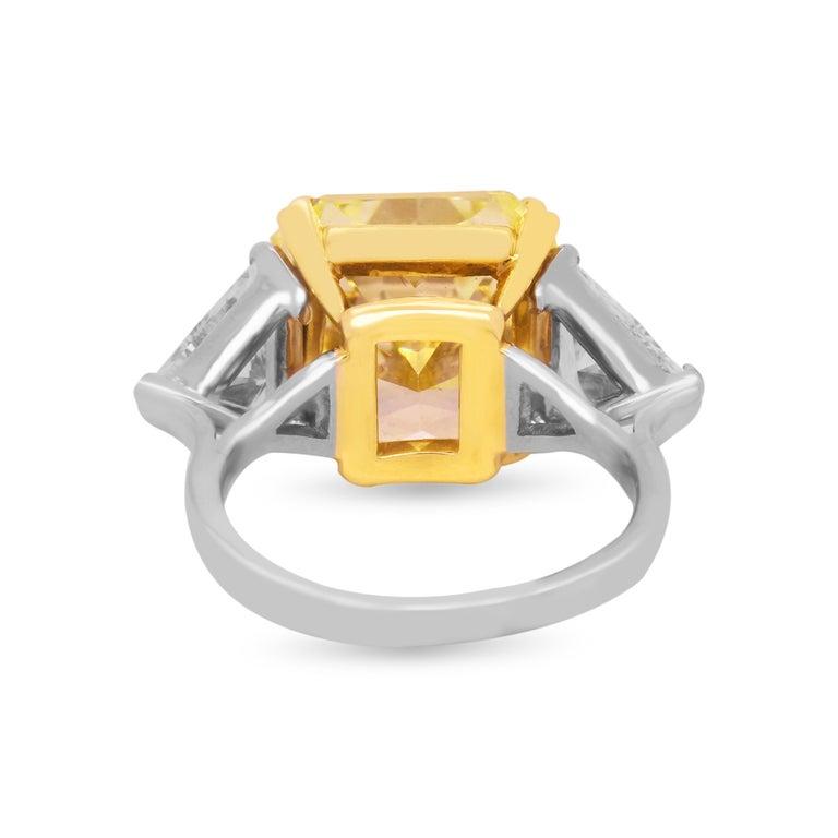Radiant Cut GIA 11.22 Carat VVS1 Fancy Intense Yellow Diamond Ring with Trillion Diamonds For Sale