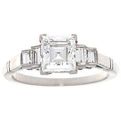 GIA 1.17 Carat Carre Cut Diamond Platinum Ring