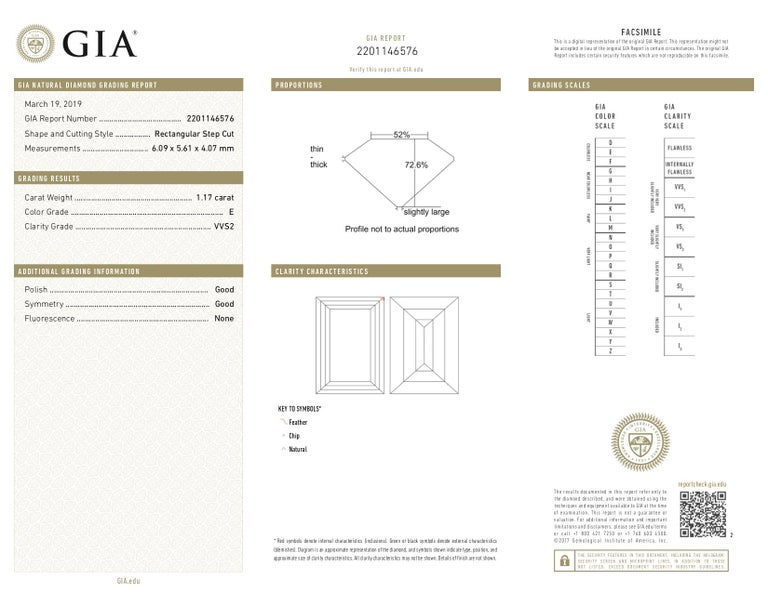 Emerald Cut GIA 1.17 Carat E VVS2 Rectangular Step Cut Diamond Platinum Engagement Ring For Sale