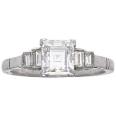 GIA 1.17 Carat E VVS2 Rectangular Step Cut Diamond Platinum Engagement Ring