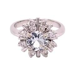 GIA 1.17 Carat Natural No Heat White Sapphire 14 Karat White Gold Ring