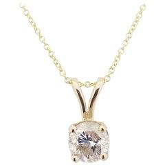 GIA 1.17 Carat Round Diamond Pendant 14 Karat Gold