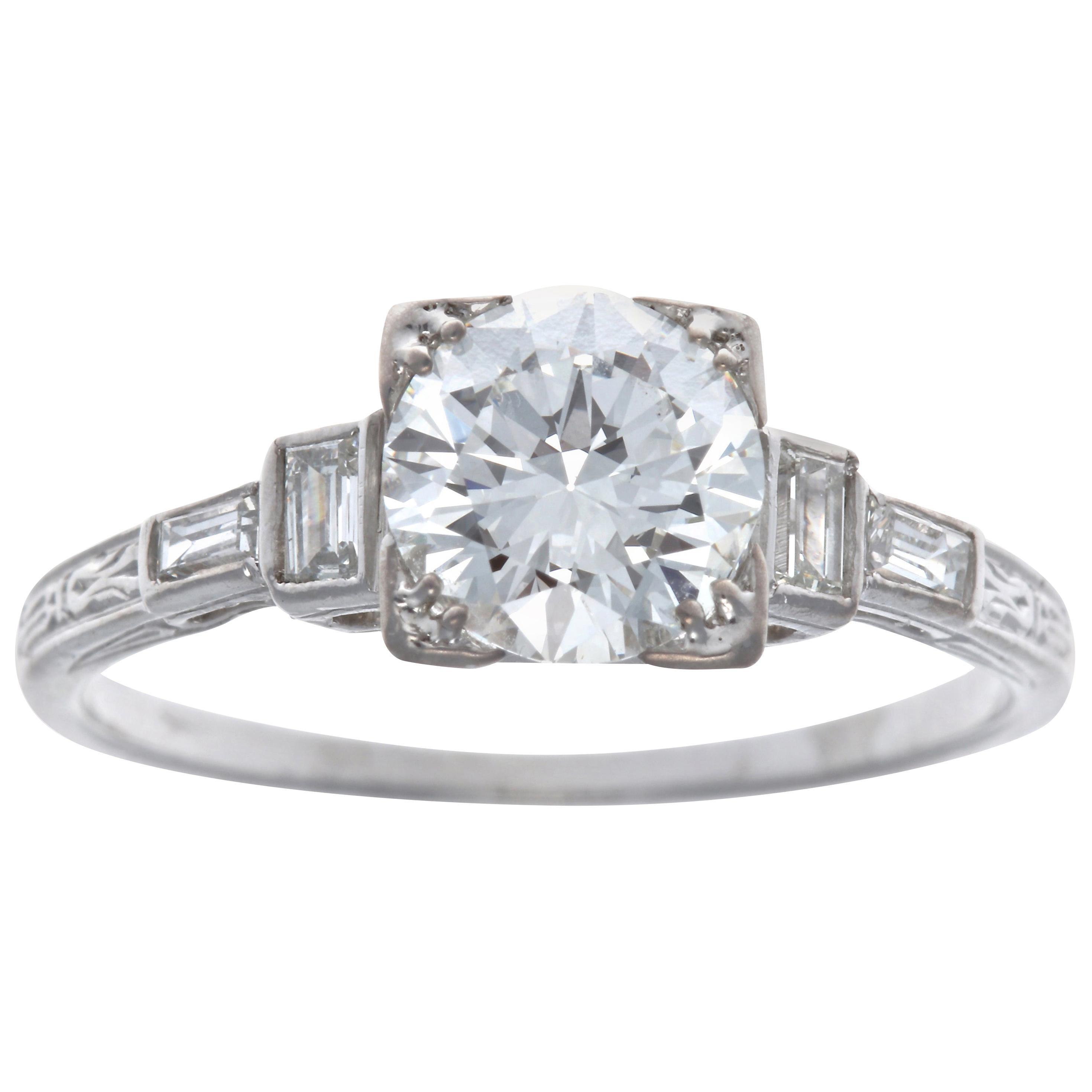 GIA 1.19 Carat Brilliant Cut Diamond Platinum Engagement Ring