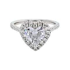 GIA 1.19 Carat G/SI1 Heart Shape Diamond 18 Karat Pave Set Ring with Halo