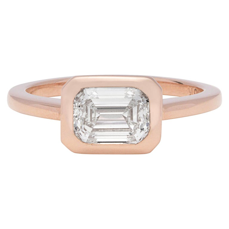 GIA 1.20 Carat I/VS1 Emerald Cut Engagement Ring For Sale