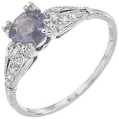 GIA 1.20 Carat Montana Sapphire Diamond Platinum Engagement Ring