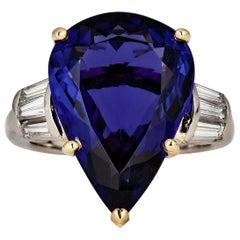 GIA 12.01 Carat Pear Tanzanite Deep AAA Blue Violet Diamond Platinum Ring