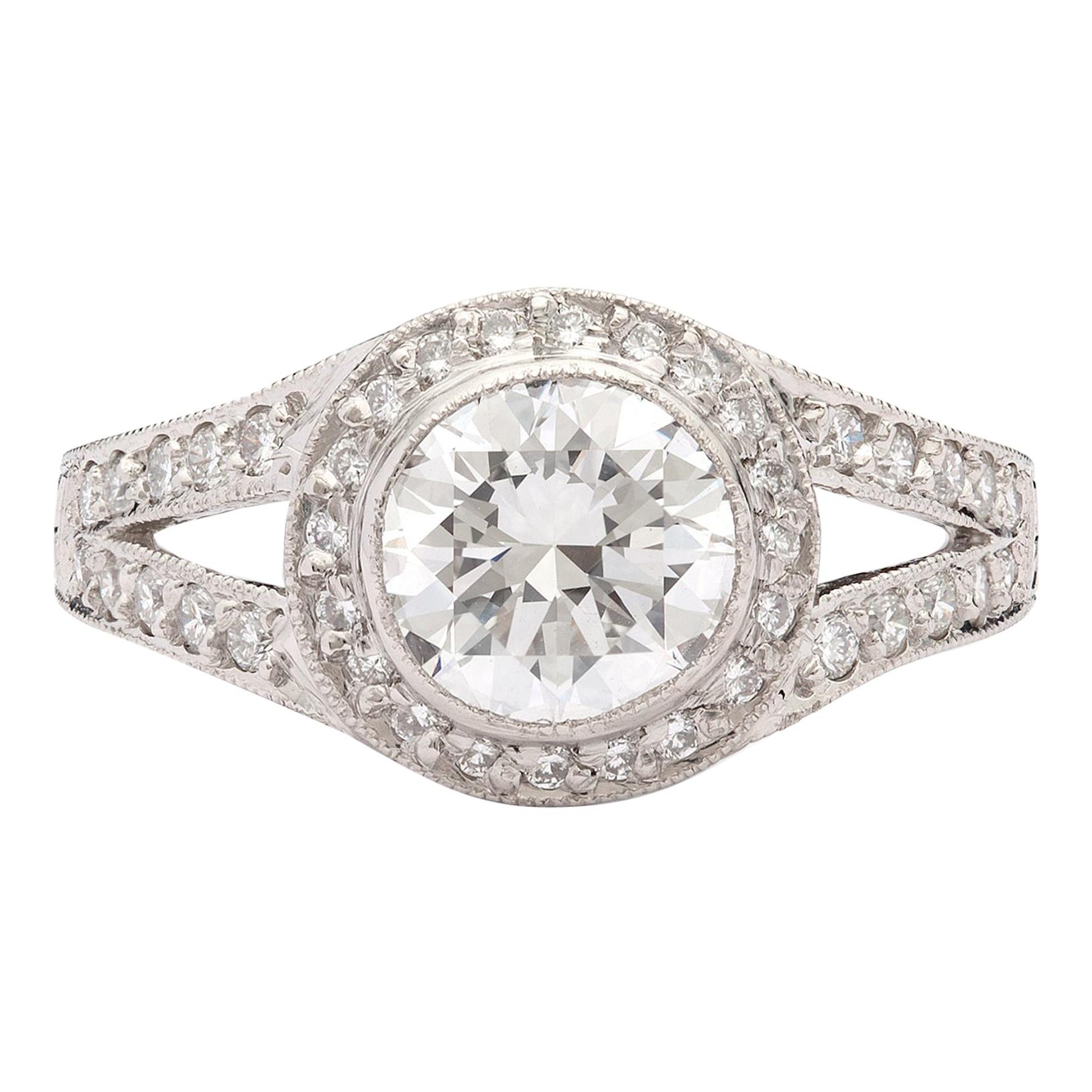 GIA 1.22ct E/VS1 Round Brilliant Diamond Platinum Ring