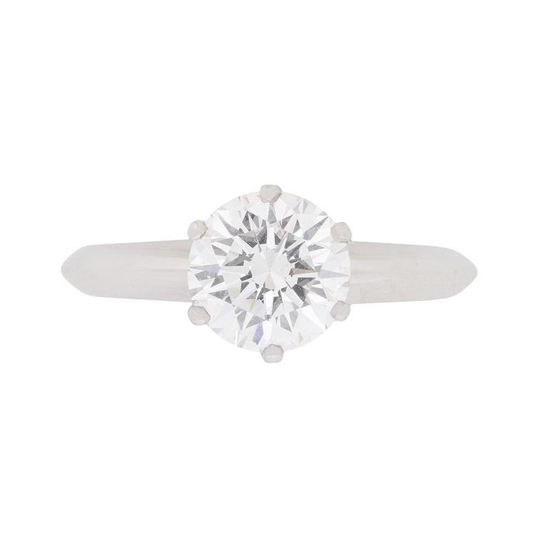 f66a99609 GIA 1.24 Carat Tiffany & Co. Round Brilliant Cut Diamond Solitaire Ring For  Sale