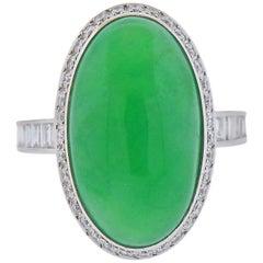 GIA 12.40 Carat Natural Type A Jadeite Jade Platinum Diamond Ring