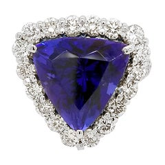 GIA 12.40 Carat Trillion Tanzanite Split Shank Pave Set Ring with Halo
